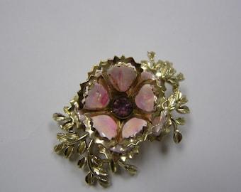 Unusual Vintage Pink Flower Broach Brooch Pin