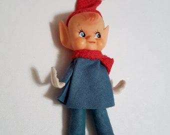 """Vintage 50s-60s Elf Christmas Ornament Retro Mid Century Large figurine 6"""" tall"""