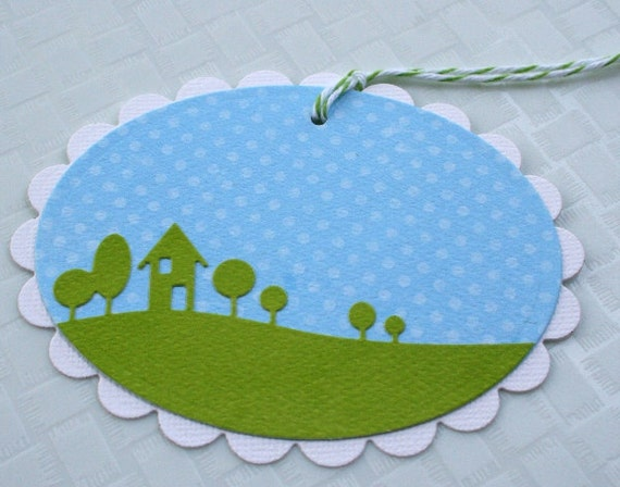 Home Sweet Home Gift Tag Label - Set of 4 Medium Tags - Horizontal