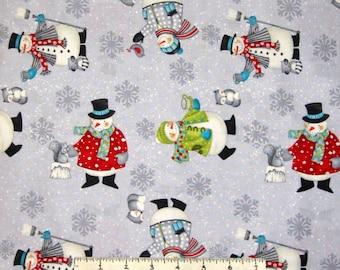 Christmas Fabric - All Bundled Up Snowman Toss Gray - Wilmington YARD