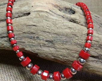 Red Branch coral and sterling silver bead Necklace