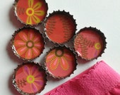 6 Red and Pink Floral Up-Cycled Magnets with Gift Bag