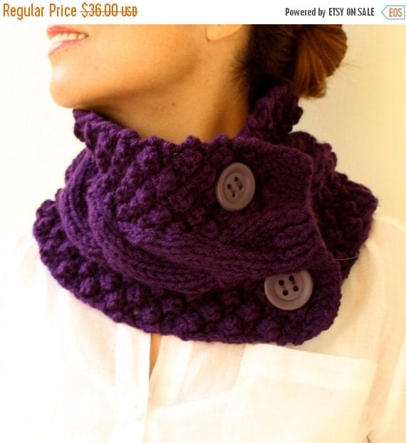 50% CLEARANCE SALE Purple Neck Warmer Chunky Scarf  Knit Cowl Plum Aubergine Cable  With Buttons