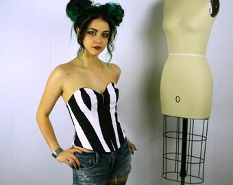 Black Stripe Bustier, Stripe Bustier, Black Stripe Corset, Striped Bustier Top, Corset Top