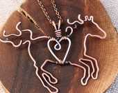 Horse Necklace, Full Figure, Running Horse, Pendant Necklace, Copper, Sterling Silver, Wire Wrapped Jewelry