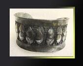 RARE Danish Brutalist Cuff Bracelet,Designer Gertrude Packness 1960s Modernist Pewter,Vintage Jewelry,Women