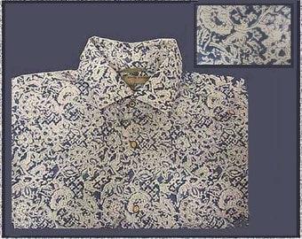 Ethnic HIPSTER, Pale Blue/Cream Cotton Mens Shirt, Indian Block Allover Flower Print, Slim Fit Shirt, Summer Weight, Vintage Fashion, Men