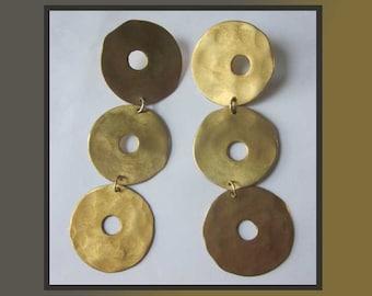 LONG Long Dazzlers, Roz Balkin Spectacular Gilded Discs Modernist Shoulder Duster Dangle Earrings, Woodstock NY, Vintage Jewelry, Women