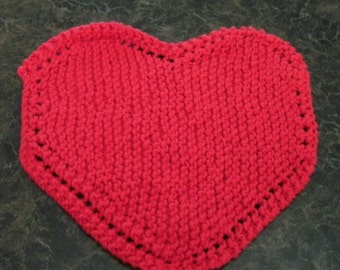 Hand Knit Red Dishcloth - measures approximately 8 inches with and 81/2 inches from top to bottom