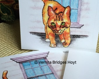 Orange Tabby Cat note card, Cat on Roof, Texas artist, Kitty Cat Note Card with blank inside, pen and ink, watercolor cat, pet portrait