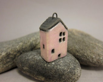 Dusty PINK Cottage...Raku Pendant / Necklace