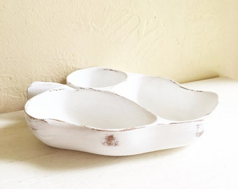 Shabby Chic White Wooden Leaf Dish Vintage 3 Compartment Storage Tray