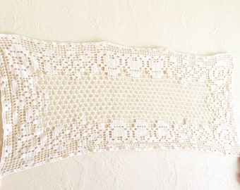 Vintage Rectangle Table Runner Doily Crochet Ecru Tan Natural Beige - FREE SHIPPING