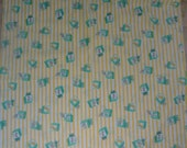 Vintage 1950s or 60s Novelty Print for Baby, Yellow and Aqua Blocks and Little Animals