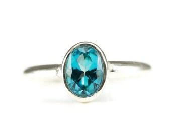 Blue Topaz Ring - 6 x 8 mm Oval Blue Topaz Sterling Ring