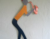 Colorful Yellow And Red Metal Wall Art Sculpture Saxophone Guy Painted Recycled Metal Copper Whimsical Musician Wall Art Custom Request
