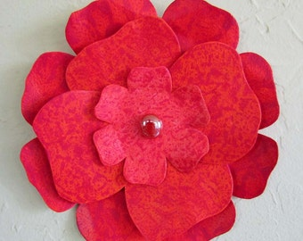 Metal Wall Art Flower Sculpture Hibiscus Recycled Metal Kitchen Wall Art  Magenta Poppy Orange Coral Wall Flower 8 inches