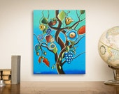 Kitchen Art, Tree Art Abstract Painting, Blue Tree of Life Original Acrylic Painting on Canvas, 16x20