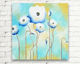 Baby Blue White Poppy Original Painting Wall Art, White Flower Art Wall Decor, Abstract Flowers Bedroom Decor 20x20