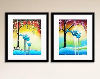 Bird art prints, Baby boy room, Nursery wall art, Decor art for kids, Whimsical birds Set of 2 Signed