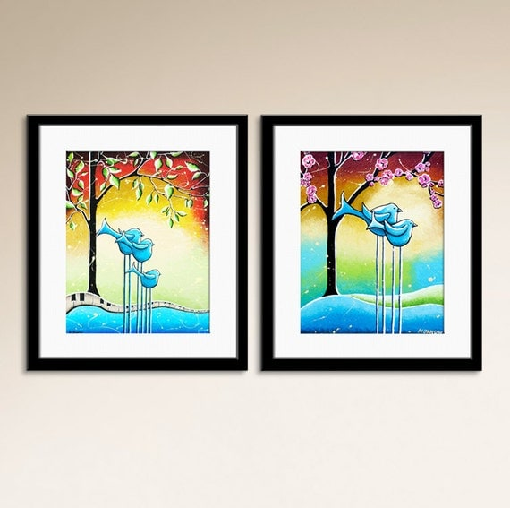 Bird Art Prints Baby Boy Room Nursery Wall Art Decor Art For Kids