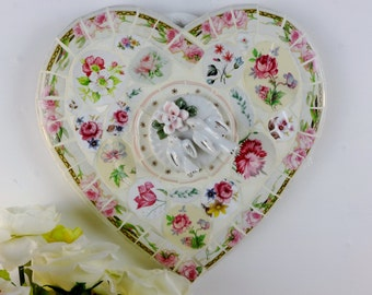Heart Decoration, Vintage Pink Crockery Heart, Mosaic Heart