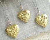 Bridesmaid Necklace Set. Bridesmaid Gift Set of 3 Heart Locket Necklaces. Rose Necklace. Vintage Brass Locket Necklace. Layering Necklace.