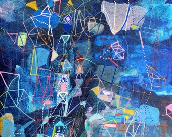 Perseids - original blue abstract painting fine art  painting mixed media watercolor falling stars 10 x 8 inches