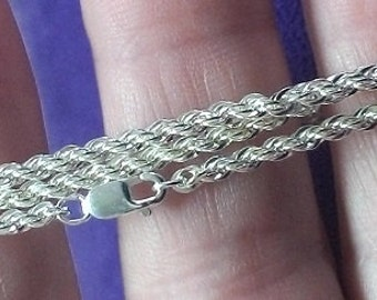 """Sterling Silver ~ 2.25mm Medium French Rope chain 16"""" inch, 18 """" inch & 20"""" inch  long ~  to be ordered ~ #460-132 ~ FDK"""