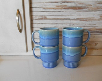 4 Stacking Sea Foam Blue Green Mugs Cups Retro