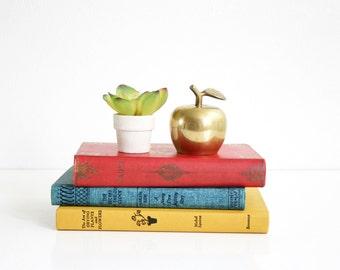 Mid Century Brass Apple / Vintage Apple Bell / Brass Figurine / Mid Century Modern Brass Apple Bell