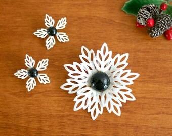 Vintage Black and White Enamel Flower Brooch and Earrings Set