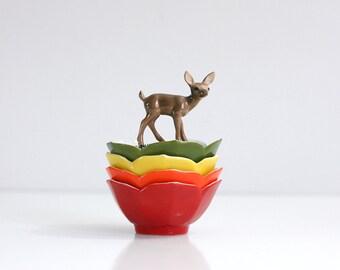 Vintage Set of Four Colorful Porcelain Lotus Bowls