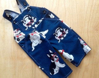 SUPER SALE - Overall in Navy Hipster French Bulldog