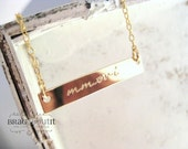 Horizontal Bar Necklace . Hand Stamped Jewelry . Personalized Necklace . 14K Gold Filled Name Necklace . Brag About It
