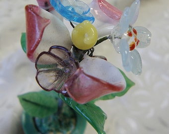 Miniature COLORFUL Flowers and Leaves in Jade Green Glass Flower Pot