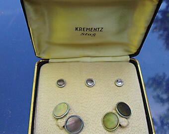 "Vintage Boxed Set of Krementz  Shirt Studs and Cufflinks:  abalone with silver tone metal - ""Stag"""