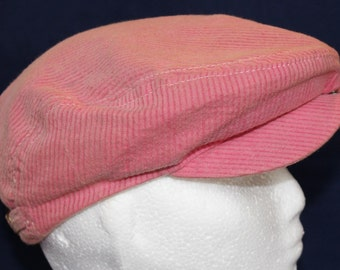Vintage Pink Corduroy Newsboy Style Hat