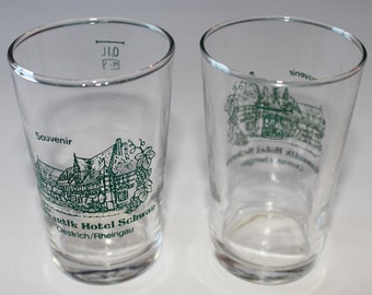 2 Vintage Shot Glasses, Souvenir Glasses from Romantik Hotel Schwan, 1960's to 1970's Era