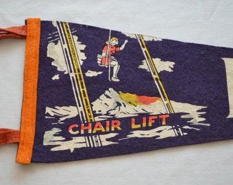 Vintage BANFF Alberta CANADA felt pennant souvenir Chair Lift