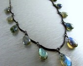 BIGGEST SALE EVER Labradorite and Oxidized Sterling Necklace