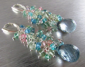 Aquamarine and Pale Blue Quartz Long Cluster Sterling Silver Earrings