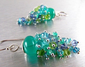 End Of Summer Sale Green Onyx and Apatite, Peridot, and Quartz Gemstone Cluster With Sterling Silver Dangle Earrings