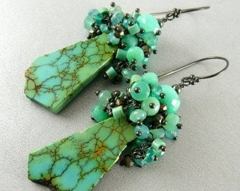 End Of Summer Sale Natural Turquoise Slab And Sterling Silver Earrings