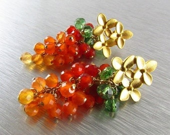End Of Summer Sale Shaded Carnelian With Green Apatite Cluster Floral Post EarringsOrange Earrings