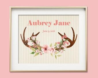 Personalized Boho Tribal Nursery Print, Boho Nursery, Custom Name Print, Baby Girl Nursery Wall Art, Deer Antler Print, Kids Room Decor