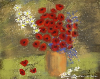 8 x 10 Gallery Wrapped Canvas PRINT of Red Poppies in a Vase Still Life by Joan Princing Art