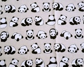 Kawaii Japanese Fabric - Cotton/Linen - Cute Pandas Natural Color - Fat Quarter (re160610)