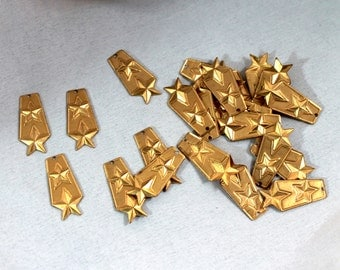 """Vintage Brass Military Double-Star Insignia Charms (3) 1"""" Findings, Trim, Jewelry, Crafts 12 mm long"""