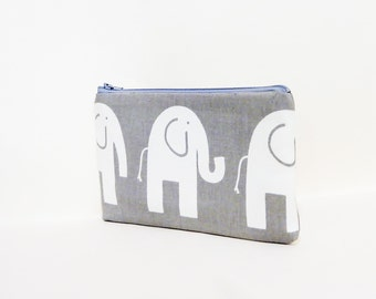 Elephant Pouch, Coin Purse, Change Pouch, Fabric Pouch, Cute Coin Purse, Zipper Pouch, Pouch, Gift for Her, Gift Under 20, Grey Elephants